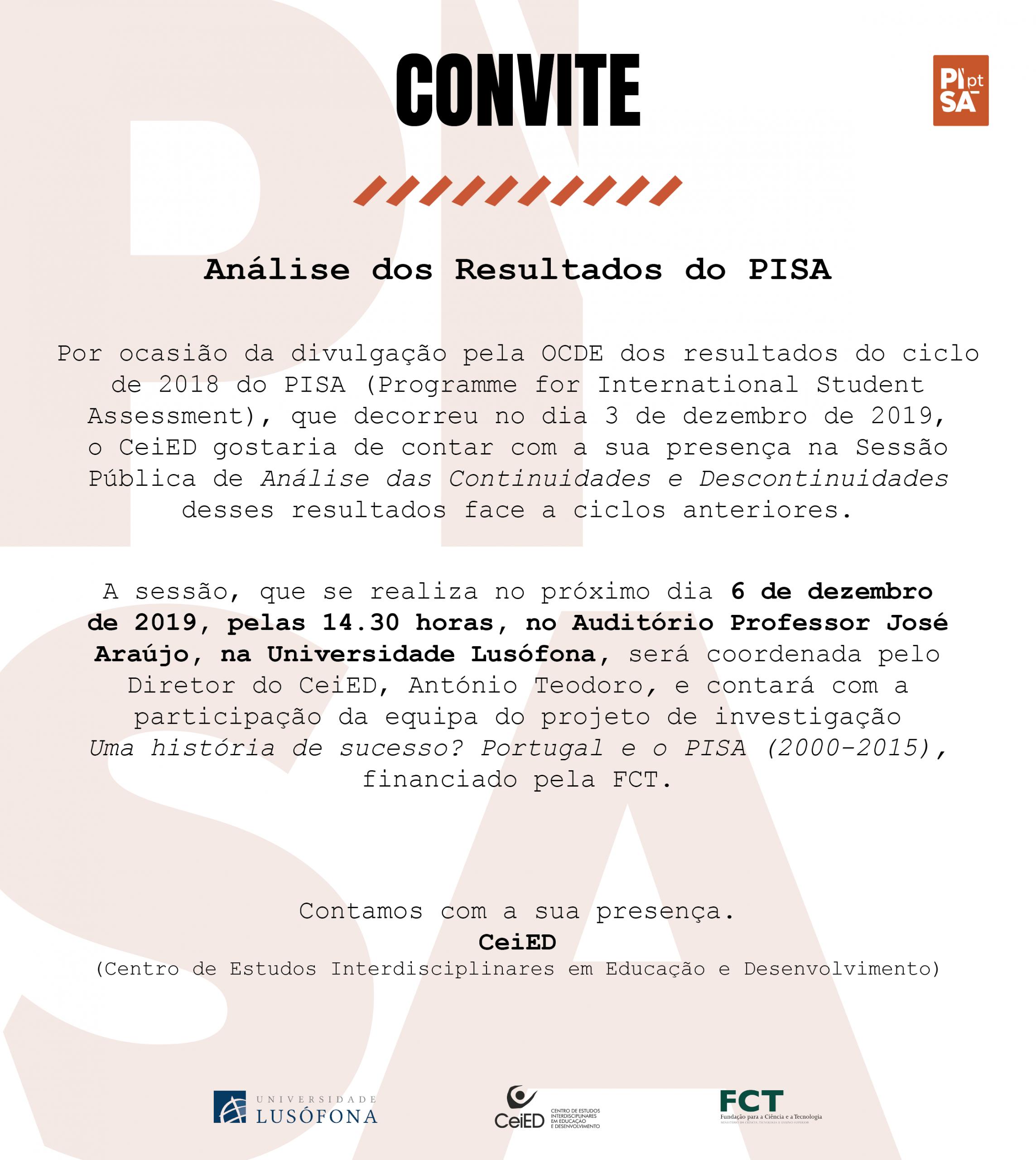Sessão Pública de Análise dos Resultados do PISA